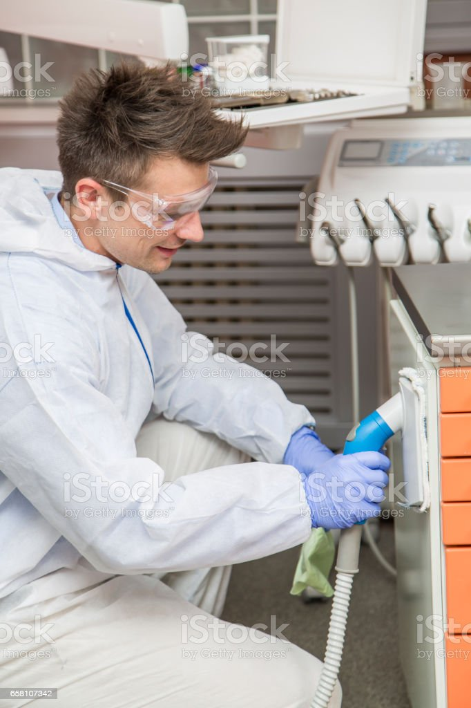 Cleaning of dental office royalty-free stock photo