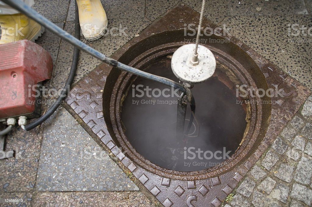 cleaning of sewer stock photo