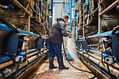 Full length shot of a male farmer hosing off the floor inside a dairy factory