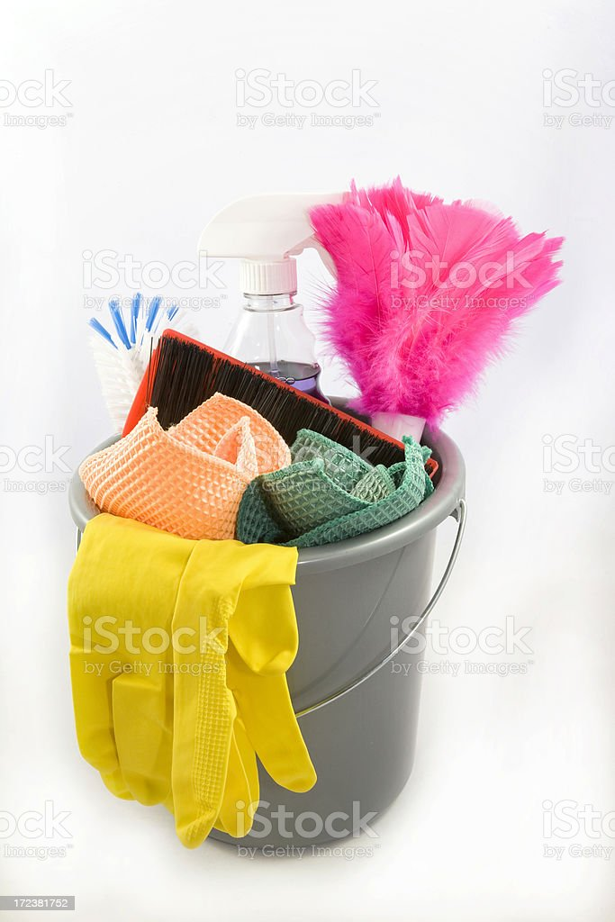 Cleaning Pail with Supplies royalty-free stock photo