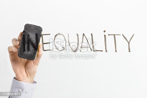 istock Cleaning part In in word Inequality on white background 1128237611