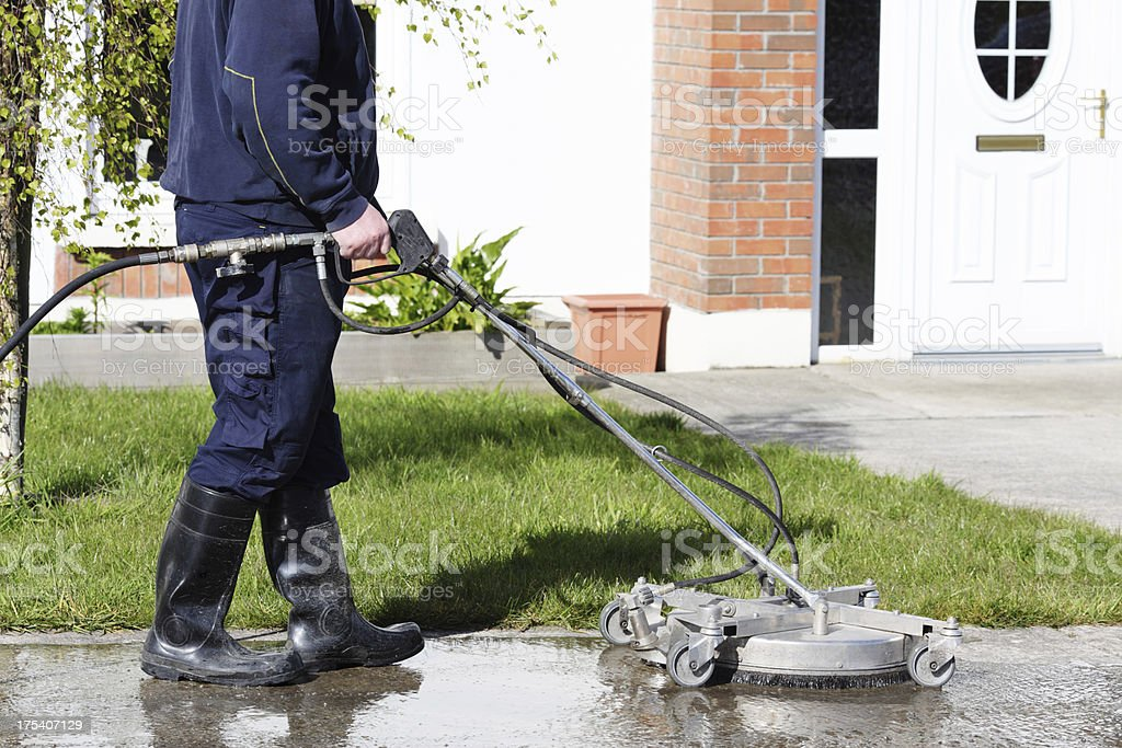 Cleaning path way with a water pressure system royalty-free stock photo