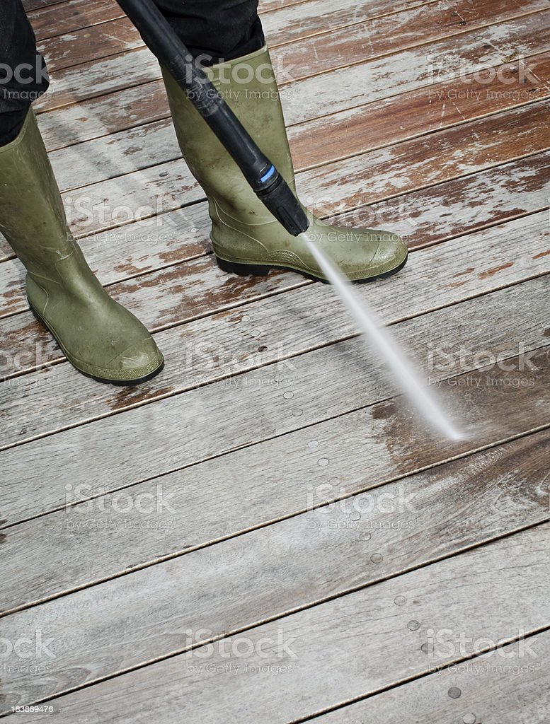 Cleaning Patio Decking stock photo