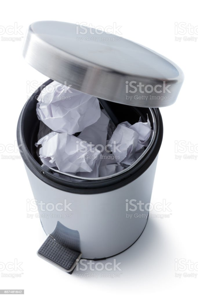 Cleaning: Pedal Bin Isolated on White Background stock photo