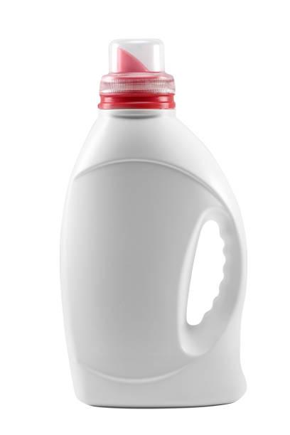 Reinigungsmittel. weiße Flasche. – Foto
