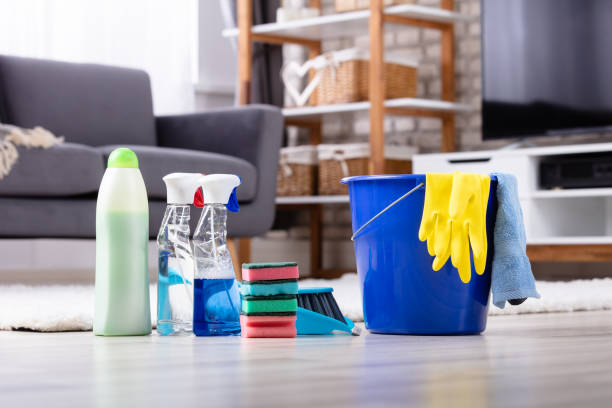 cleaning products and tools on floor - lysol stock pictures, royalty-free photos & images