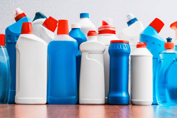 cleaning products. housework. spring cleaning. - bleach stock pictures, royalty-free photos & images