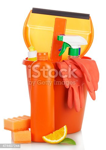 istock Cleaning products in bucket 474407244