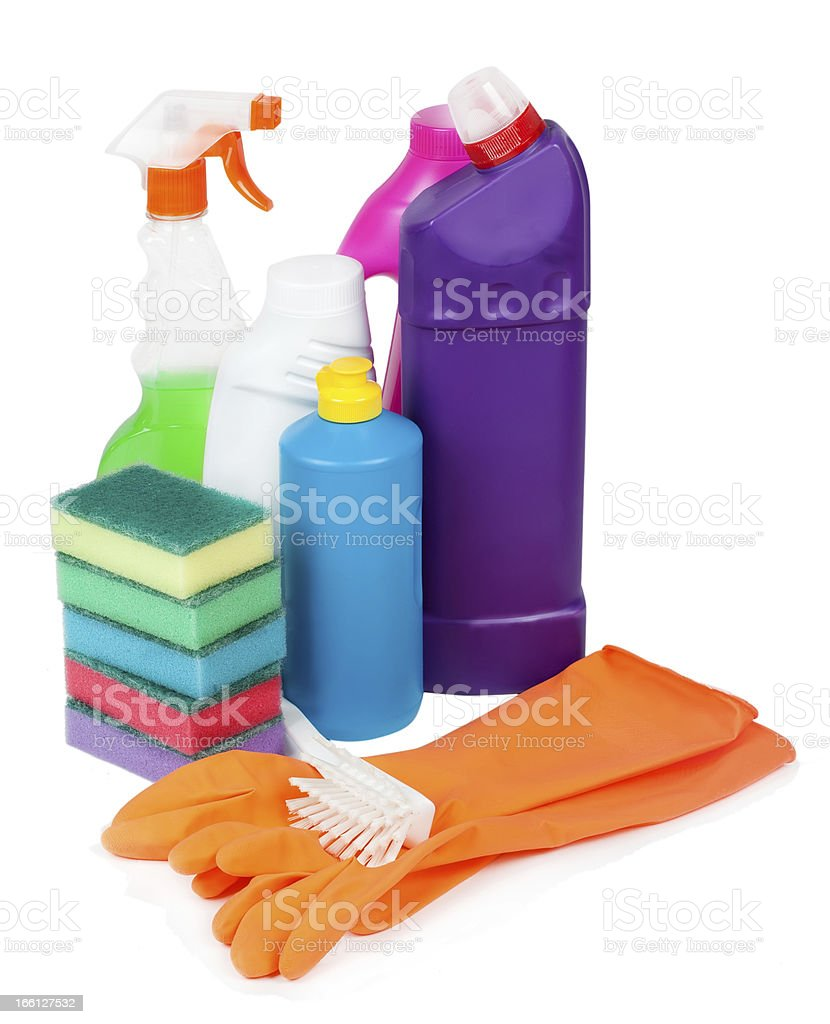 cleaning products isolated on white royalty-free stock photo