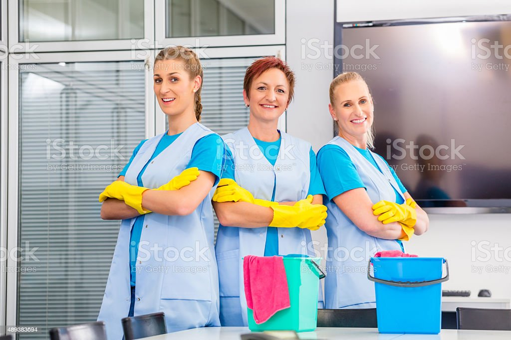 Cleaning service at work stock photo