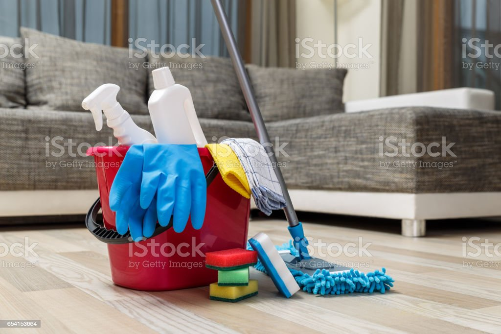 Cleaning service. Sponges, chemicals and mop. stock photo