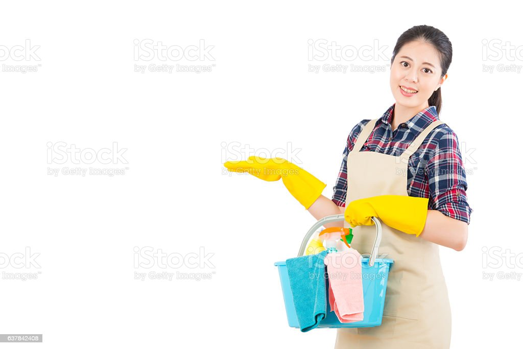 cleaning service with presenting gesture stock photo