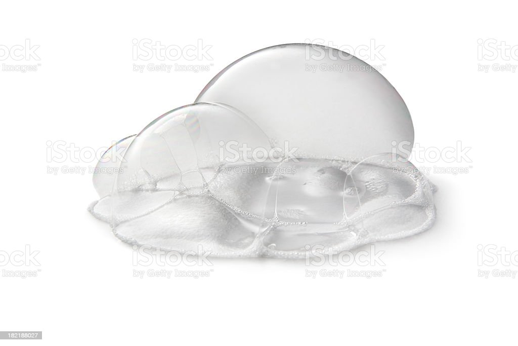 Cleaning: Soap Bubble Isolated on White Background stock photo