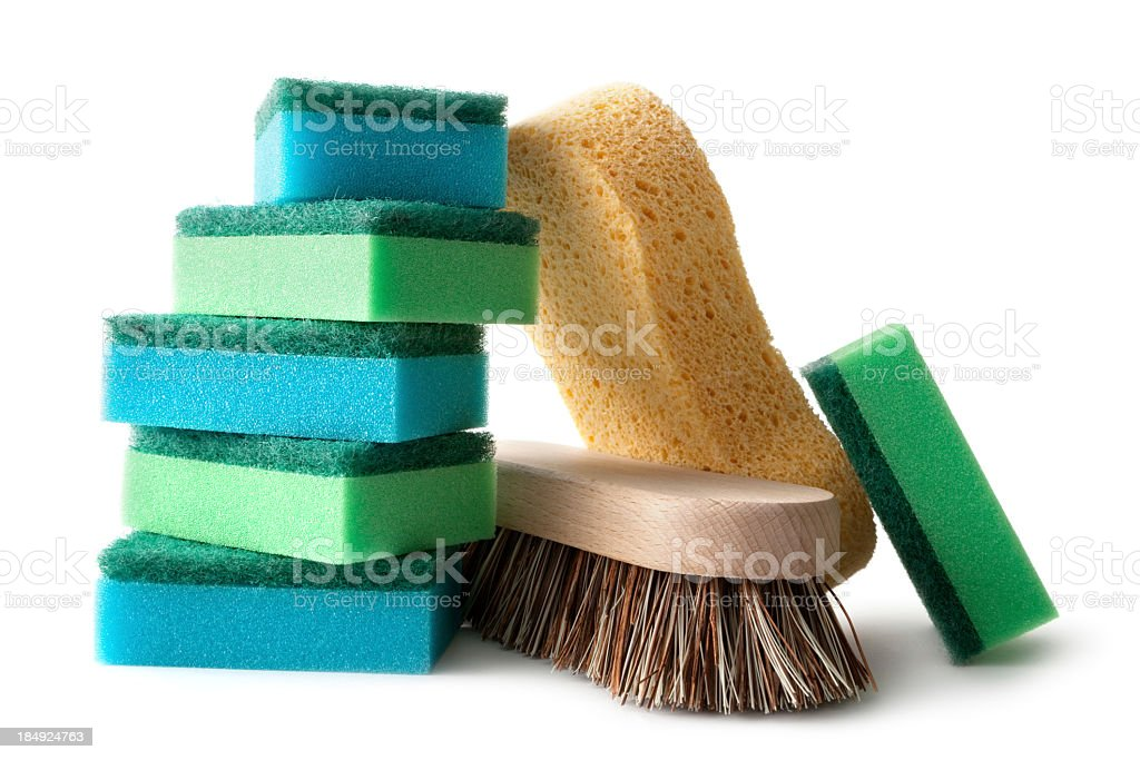 Cleaning: Sponges and Brush Isolated on White Background stock photo