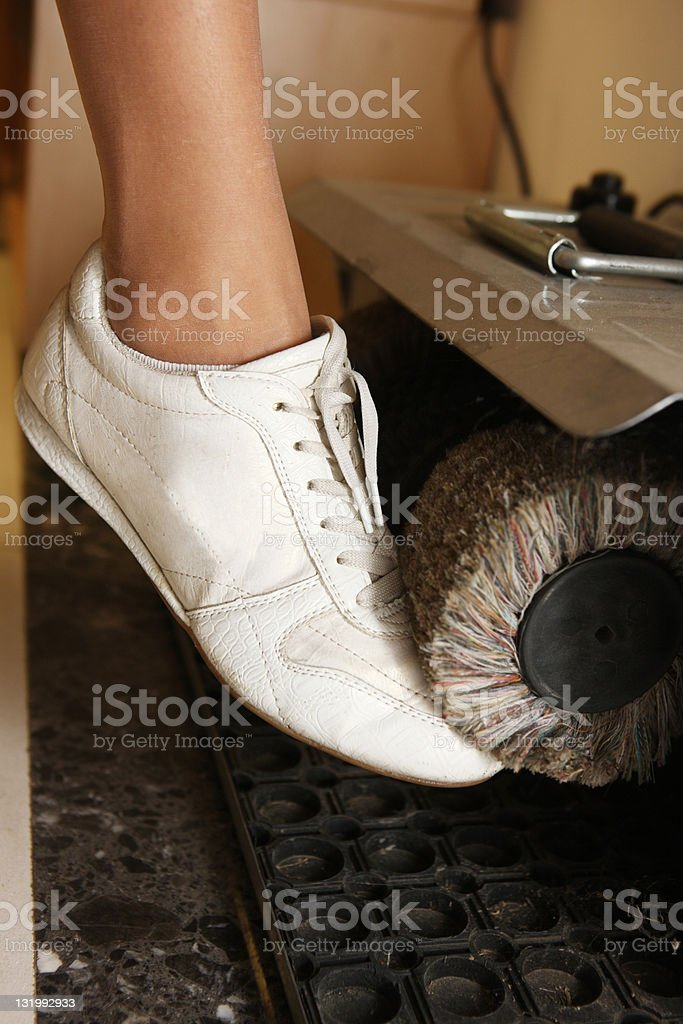 Cleaning sport shoes stock photo