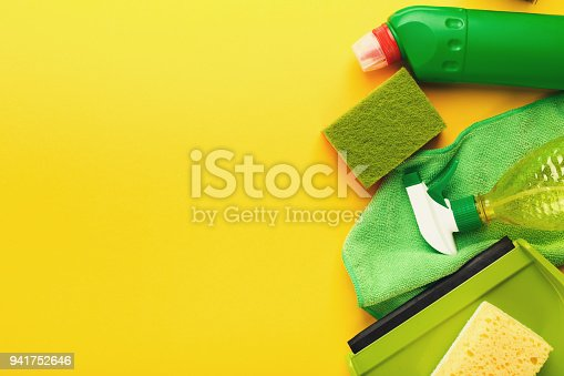 istock Cleaning supplies and products for home tidying up 941752646