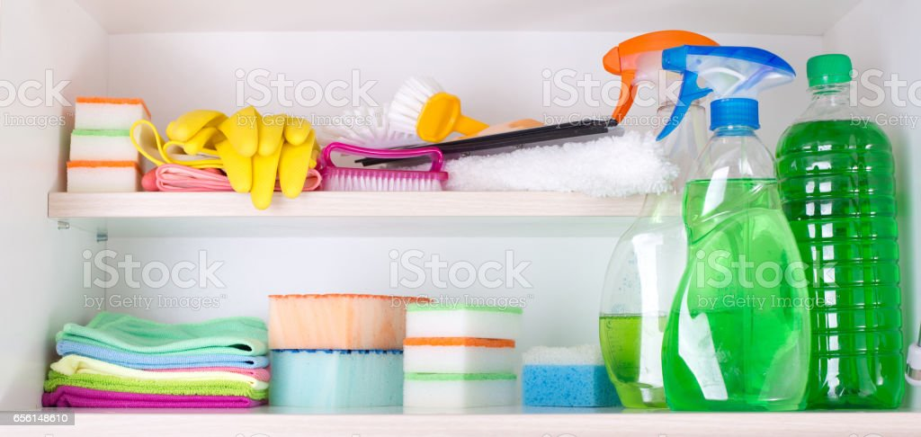 Cleaning Supplies In Pantry Stock Photo Download Image Now Istock