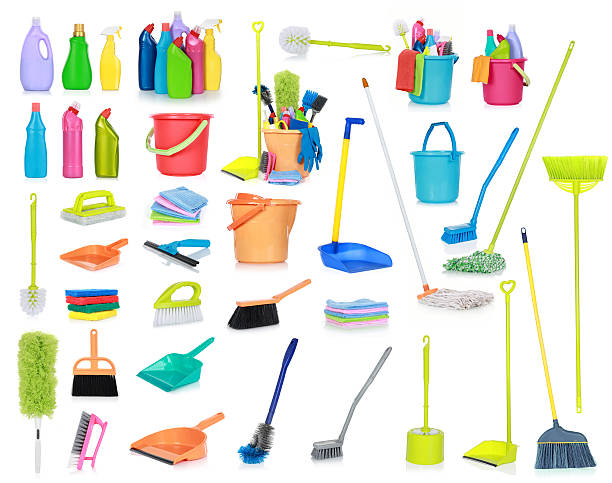 Cleaning supplies isolated on white background stock photo