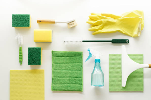 Cleaning supplies - knolling concept Cleaning supplies - knolling concept scrubbing brush stock pictures, royalty-free photos & images
