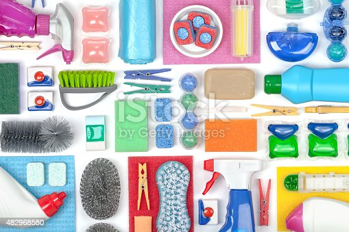 istock cleaning supplies on white background 482968580
