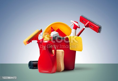 istock Cleaning supplies. Photo with clipping path. 1022864472