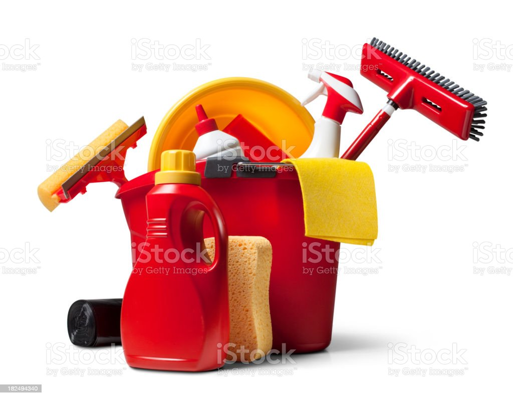 Cleaning supplies stock photo