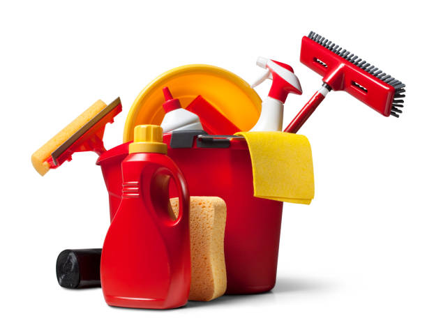 Cleaning supplies Household cleaning supplies. Photo with clipping path.Similar photographs from my portfolio: broom stock pictures, royalty-free photos & images