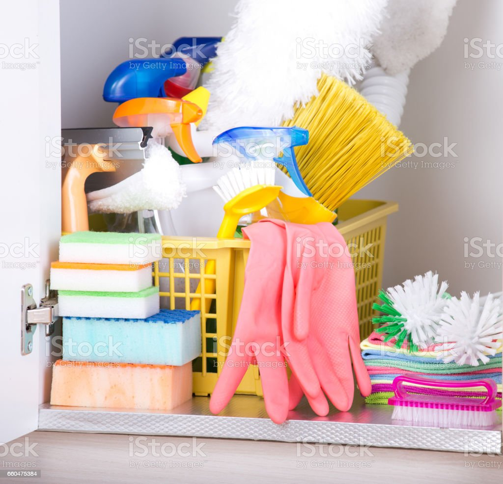 Cleaning Supplies Storage Stock Photo Download Image Now Istock