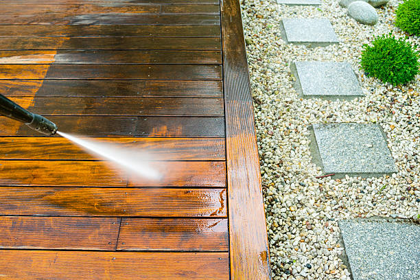 cleaning terrace with a pressure washer - Photo