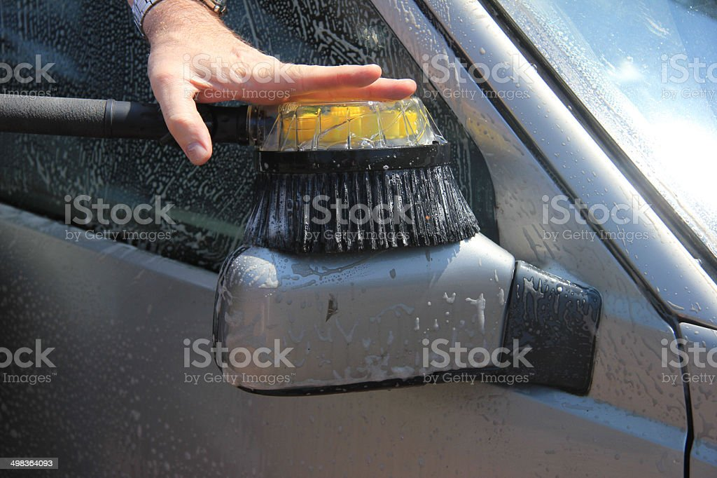 Cleaning the car stock photo