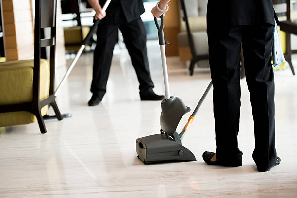 Cleaning the floors stock photo