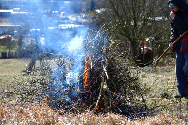 Cleaning the garden from dry leaves and branches in a village in spring stock photo