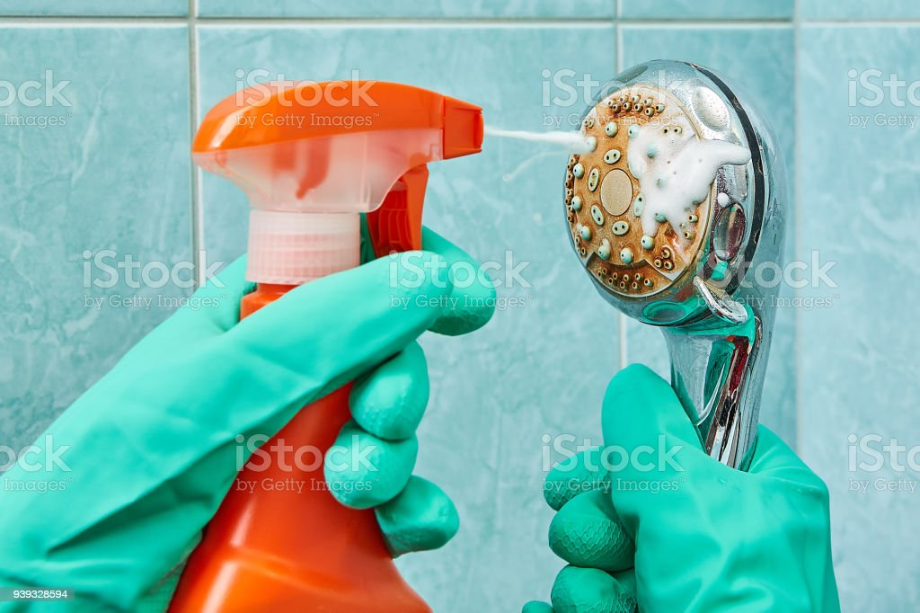 Cleaning the head of shower with a foamy liquid, close-up. stock photo