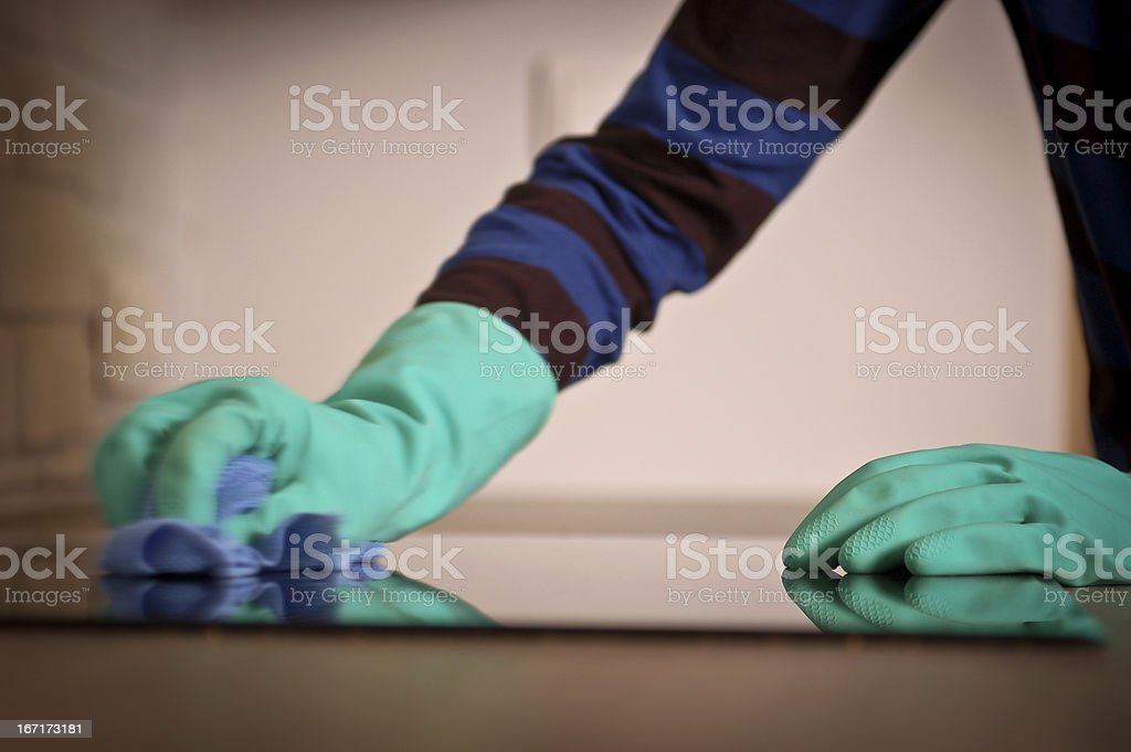 Cleaning the stove royalty-free stock photo
