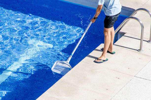 cleaning the swimming pool with a net - standing water stock pictures, royalty-free photos & images