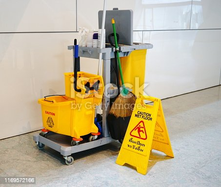 istock Cleaning tools cart wait for cleaning 1169572166