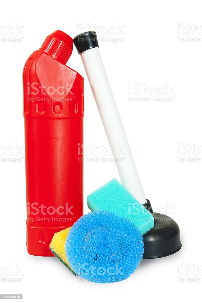 Cleaning tools isolated over white royalty-free stock photo