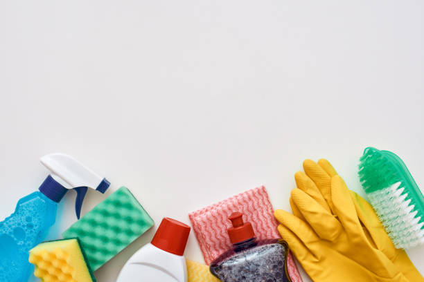 cleaning tools. spray bottle and other items isolated, cropped photo - lysol stock pictures, royalty-free photos & images