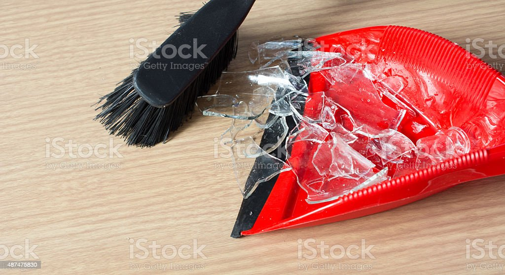 cleaning up glass stock photo
