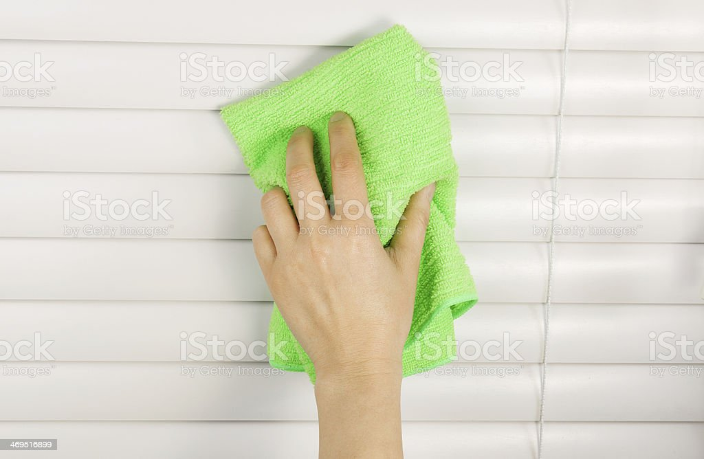 Cleaning Window Blinds stock photo