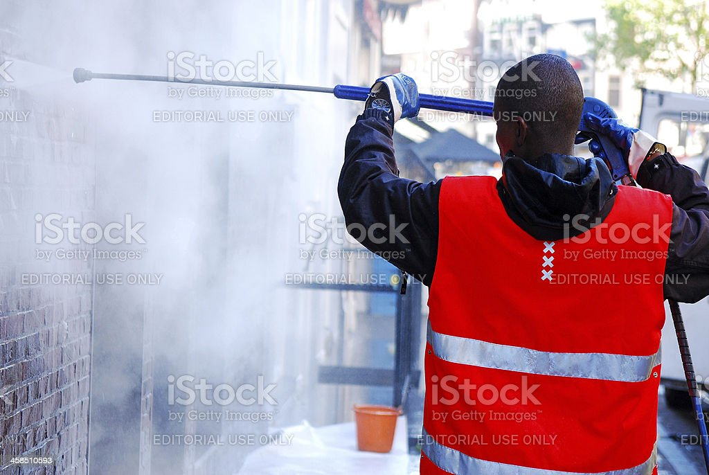 Cleaning with Pressure royalty-free stock photo