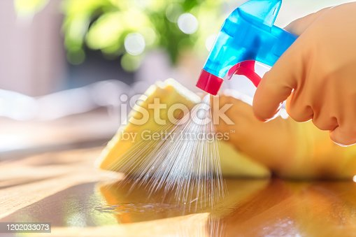 istock Cleaning with spray detergent, rubber gloves and dish cloth on work surface 1202033073