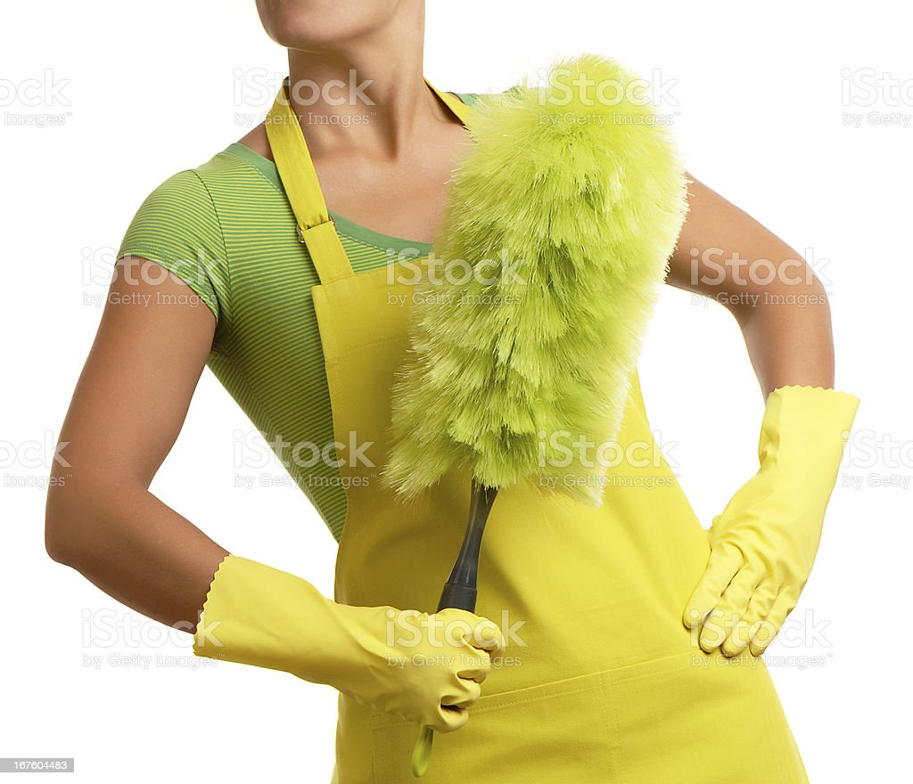 Cleaning Woman Maid with Duster Isolated on White Background royalty-free stock photo