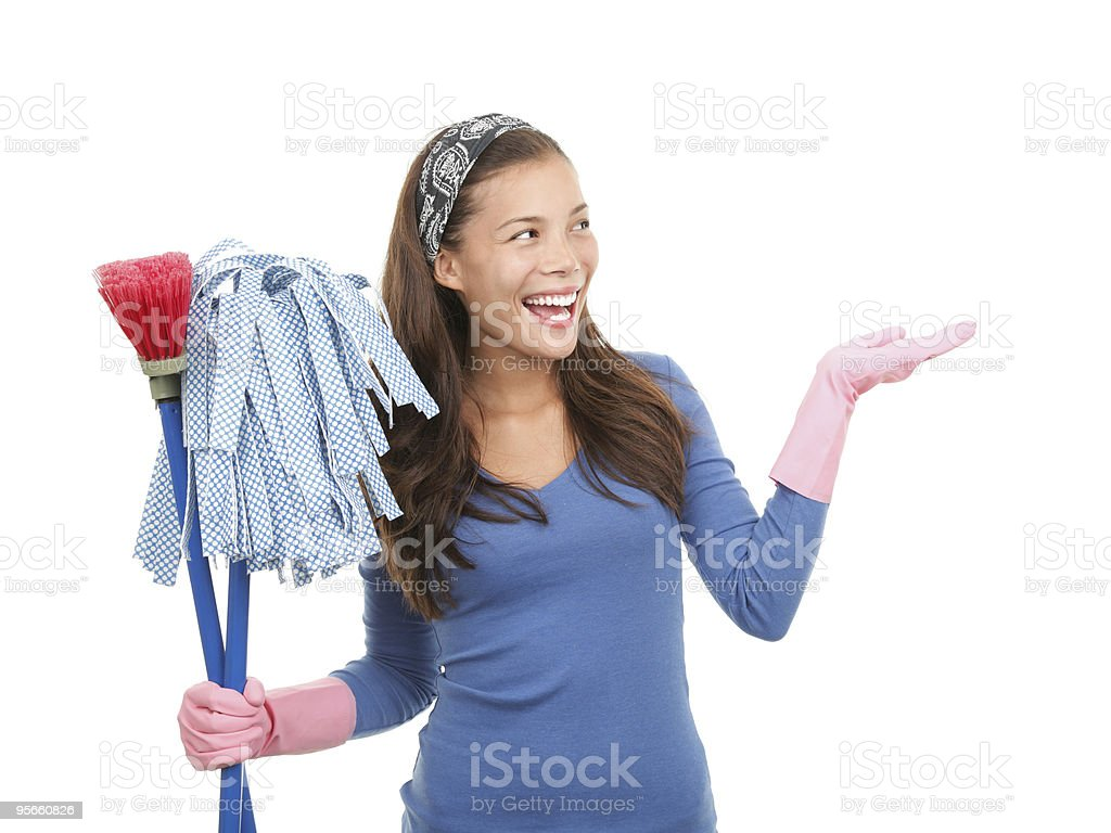 Cleaning woman showing copy space royalty-free stock photo