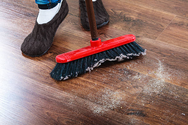 Cleaning Woman Sweeping Wooden Floor Stock Photo 476818998 Istock