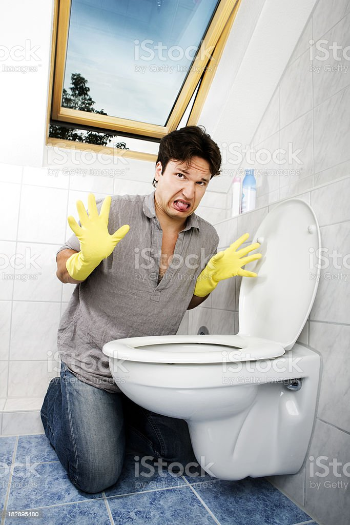 Cleaning Young Man In Bathroom Stock Photo More Pictures Of Adult - Bathroom cleaner person