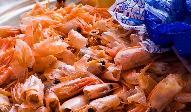 Cтоковое фото Cleanings из креветок в блюда