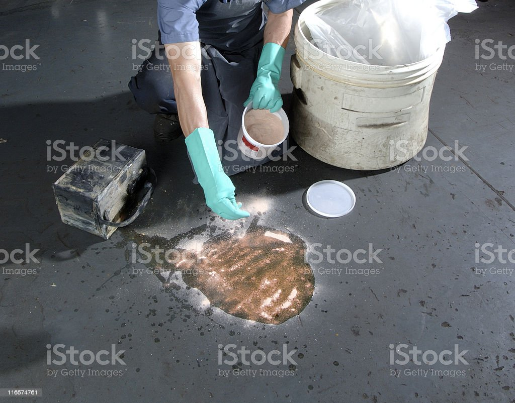 Cleaning-up a hazardous spill stock photo