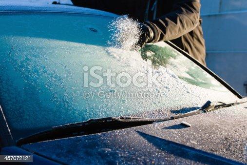 istock Cleans frozen windshield 457072121