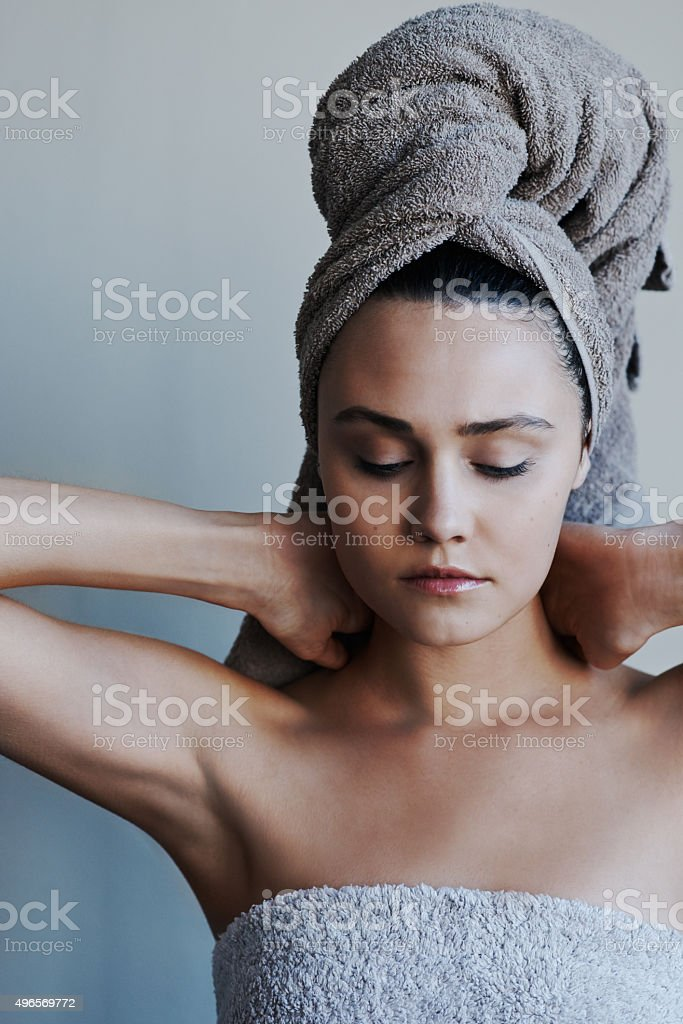 Cleansed from head to toe stock photo